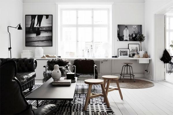 Черно-белый стиль в интерьере