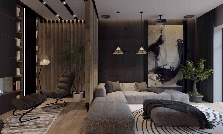 Тёмный интерьер квартиры
