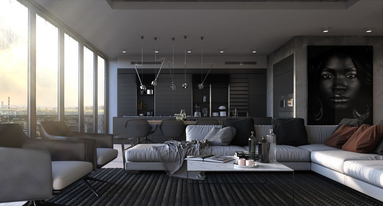 Интерьер квартиры в тёмных тонах