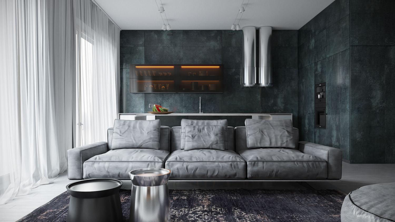 Серый цвет стен в интерьере