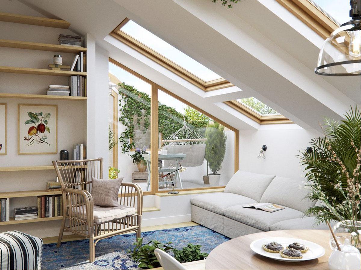 Дизайн мансарды в частном доме