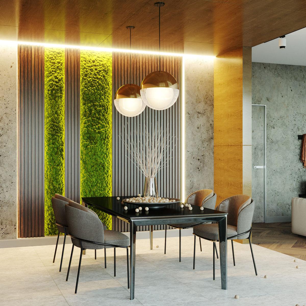 Деревянные рейки на стене в интерьере