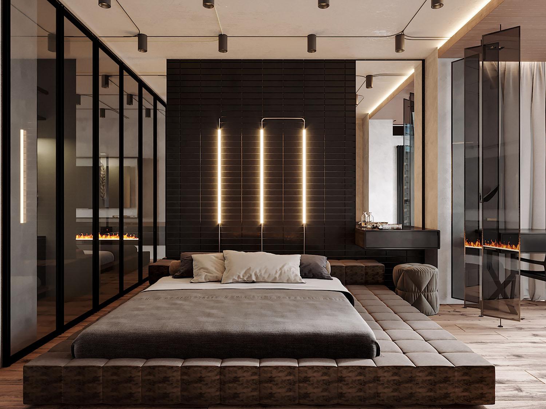 Спальня лофт в квартире