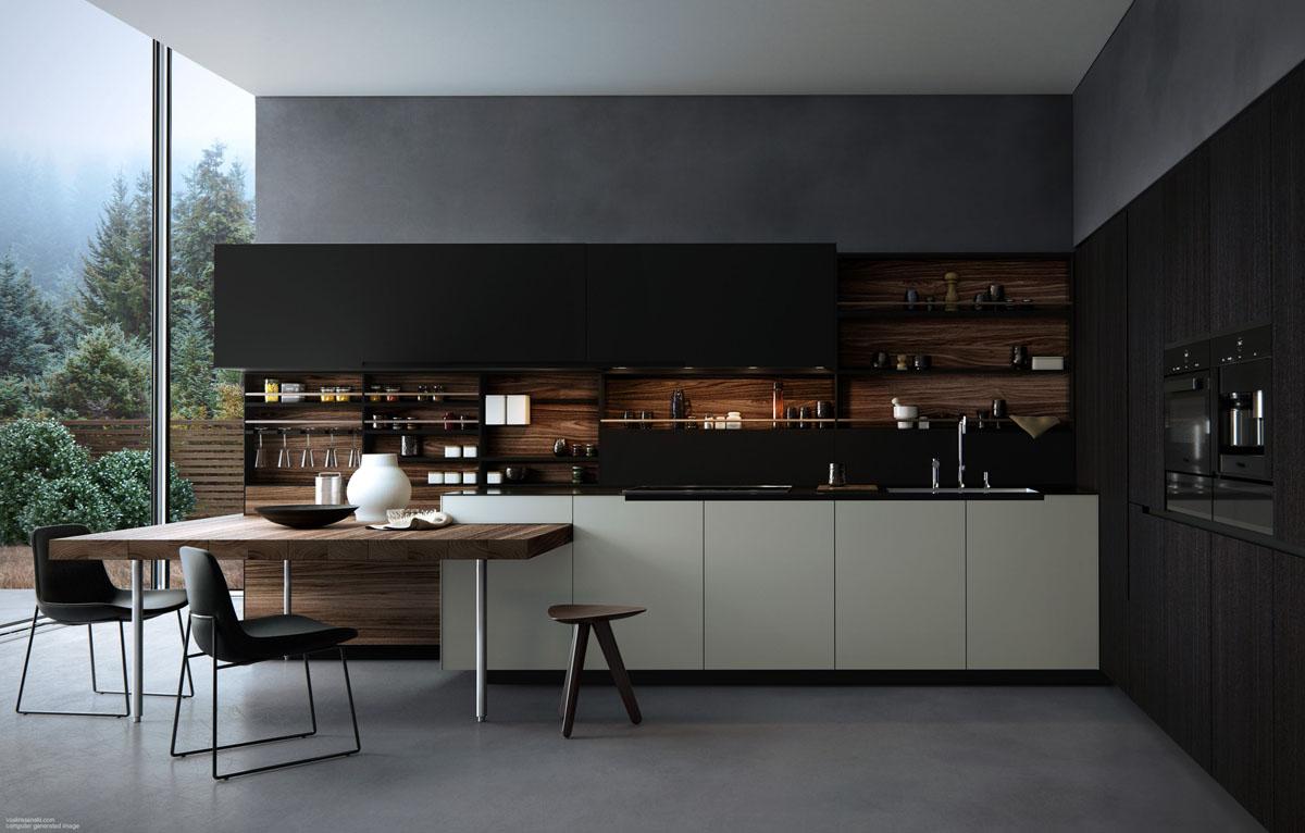 Кухонные открытые полки