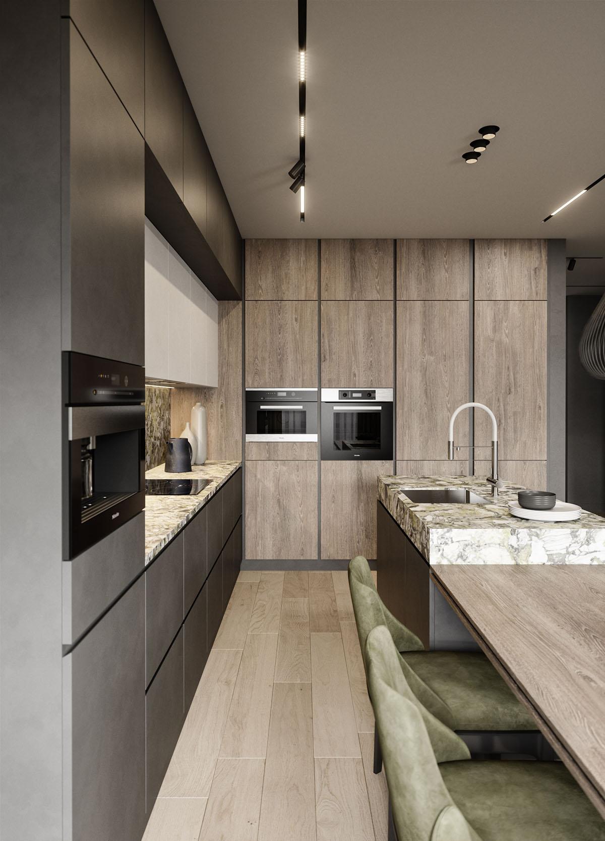 Паркет в дизайне кухни